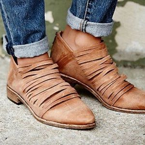 Free People Lost Valley Sliced Leather Booties